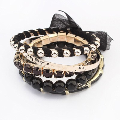 Fantasy Black Butterfly Decorated Multilayer Joker Design Alloy Fashion Bangles