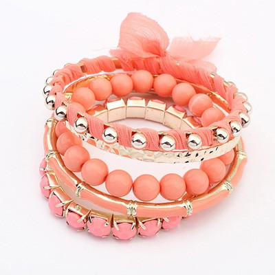 Preppy Peach Red Butterfly Decorated Multilayer Joker Design Alloy Fashion Bangles