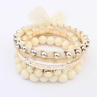 Moving Beige Butterfly Decorated Multilayer Joker Design Alloy Fashion Bangles