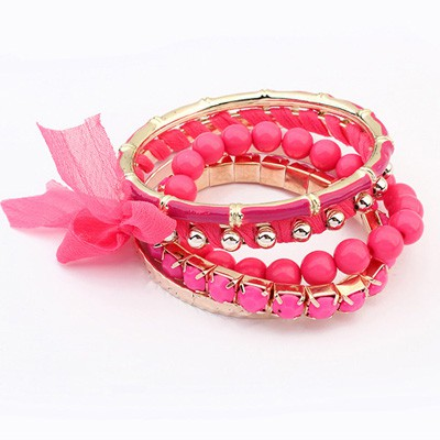 Personaliz Plum Red Butterfly Decorated Multilayer Joker Design Alloy Fashion Bangles
