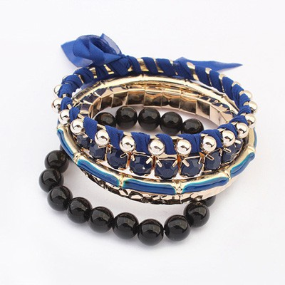 2011 Sapphire Butterfly Decorated Multilayer Joker Design Alloy Fashion Bangles