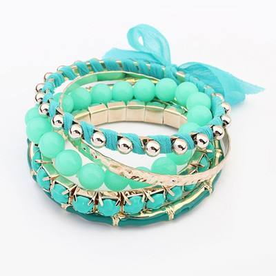 Ladies Light Blue Butterfly Decorated Multilayer Joker Design Alloy Fashion Bangles
