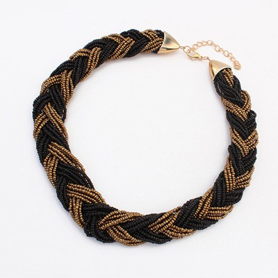Maturnity Black&Coffee Two Colors Beads Braided Design Alloy Beaded Necklaces