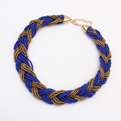 Baltic Sapphire&Coffee Two Colors Beads Braided Design Alloy Beaded Necklaces