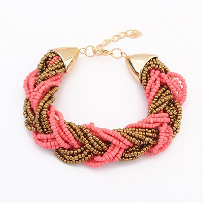 Floral Peach Red&Coffee Two Colors Beads Braided Design Alloy Korean Fashion Bracelet