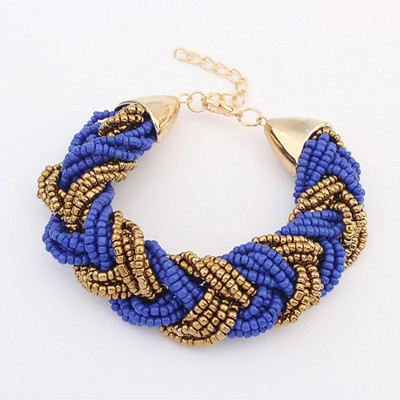Micro Sapphire&Coffee Two Colors Beads Braided Design Alloy Korean Fashion Bracelet