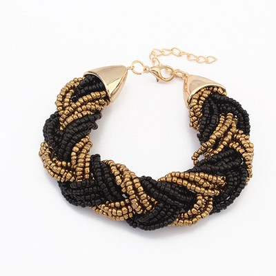 Fall Black&Coffee Two Colors Beads Braided Design Alloy Korean Fashion Bracelet