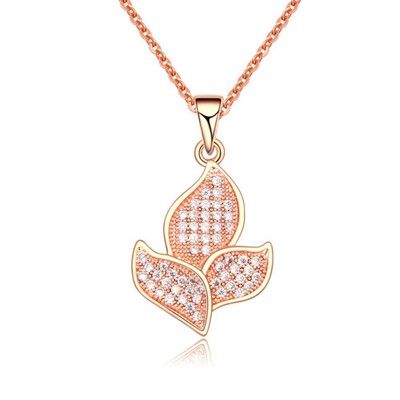 Promise White&Rose Gold Full Of Diamond Flower Shape Pendant AAA Zircon Chains