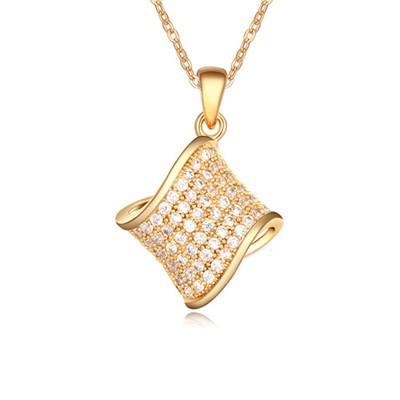 18K White&Champagne Gold Geometric Shape Pendant AAA Zircon Chains