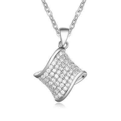 Hiking White&Platinum Geometric Shape Pendant AAA Zircon Chains