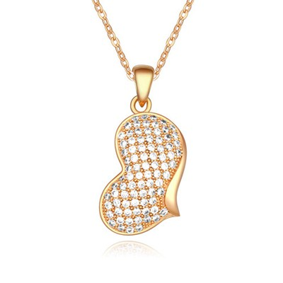 Punk White&Champagne Gold Elegant Heart Shape Pendant AAA Zircon Chains