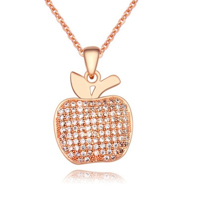 Crinkle White&Rose Gold Full Of Diamond Apple Pendant Design AAA Zircon Chains