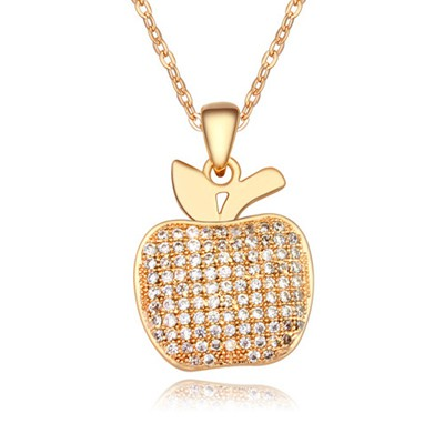 Rebel White&Champagne Gold Full Of Diamond Apple Pendant Design AAA Zircon Chains