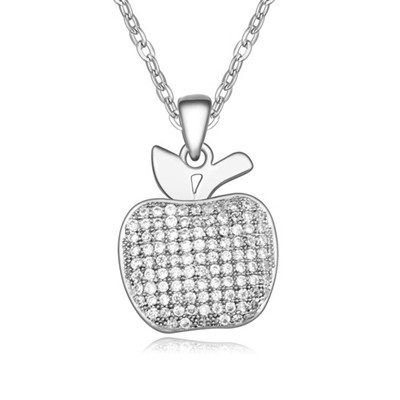 Hiking White&Platinum Full Of Diamond Apple Pendant Design AAA Zircon Chains