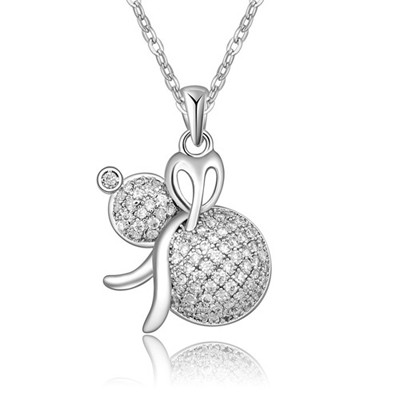Rugged White&Platinum Calabash Shape Pendant AAA Zircon Chains