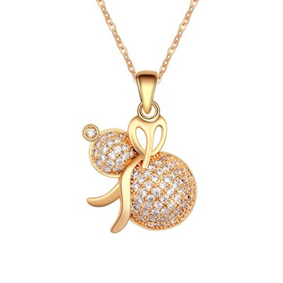 Glueless White&Champagne Gold Calabash Shape Pendant AAA Zircon Pendants