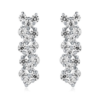 Automatic White Diamond Patchwork Long Design AAA Zircon Fashion earrings