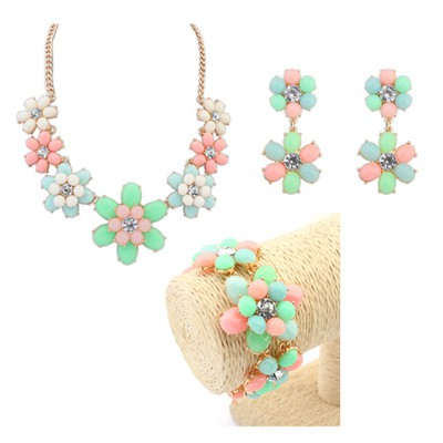 Royal multicolor flower design decorated alloy Jewelry Sets