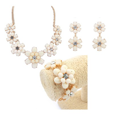 Art beige flower design decorated alloy Jewelry Sets