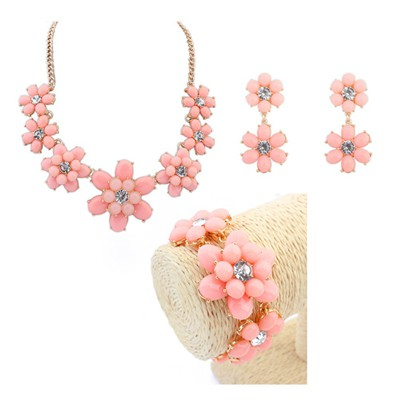 Latest pink flower design decorated alloy Jewelry Sets
