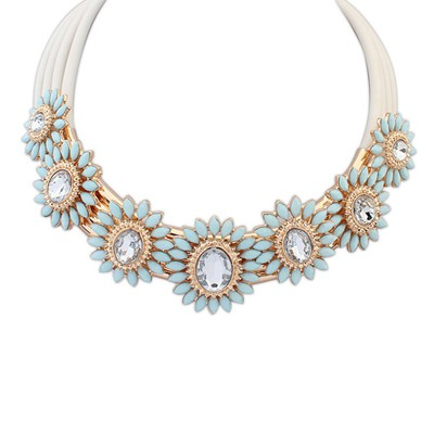 Sapphire light blue gemstone decorated flower design alloy Bib Necklaces