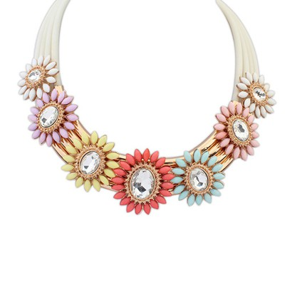 Girls multicolor gemstone decorated flower design alloy Bib Necklaces