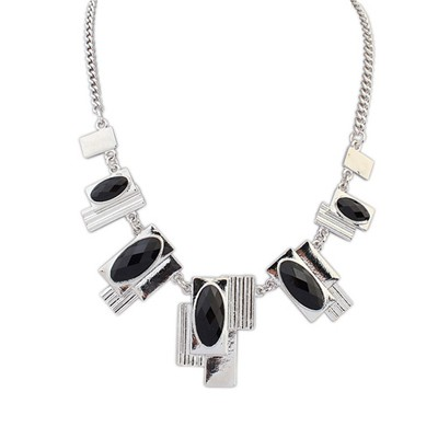 Nautical black gemstone decorated geometrical shape alloy Bib Necklaces