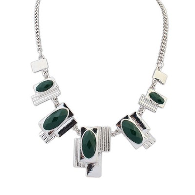 Micro green gemstone decorated geometrical shape alloy Bib Necklaces