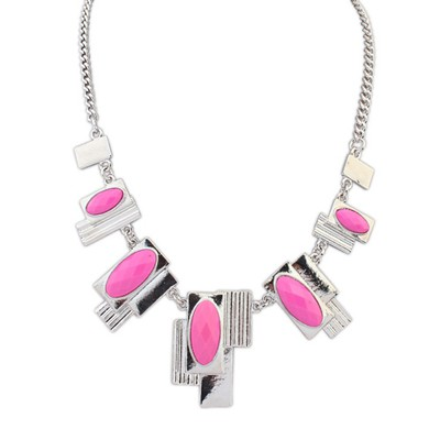 Rave plum red gemstone decorated geometrical shape alloy Bib Necklaces