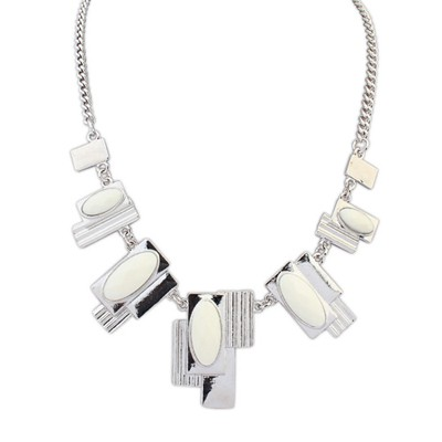Faux beige gemstone decorated geometrical shape alloy Bib Necklaces