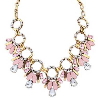 Greek pink gemstone decorated circle design alloy Bib Necklaces