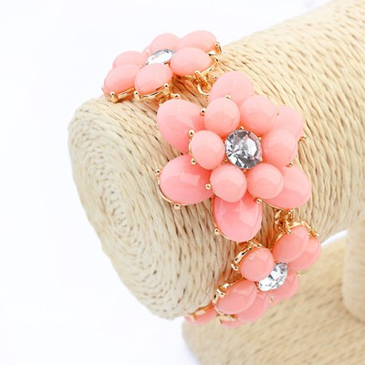 Winter pink flower shape design alloy Korean Fashion Bracelet