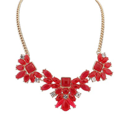 Bodybuildi red geometrical shape design alloy Bib Necklaces
