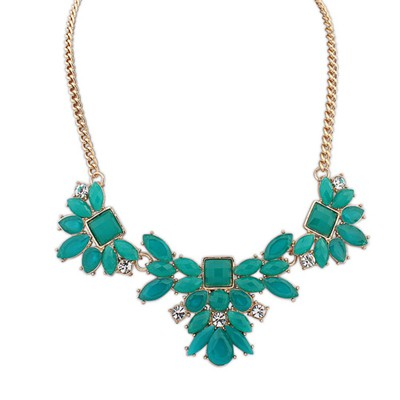 Friendship green geometrical shape design alloy Bib Necklaces