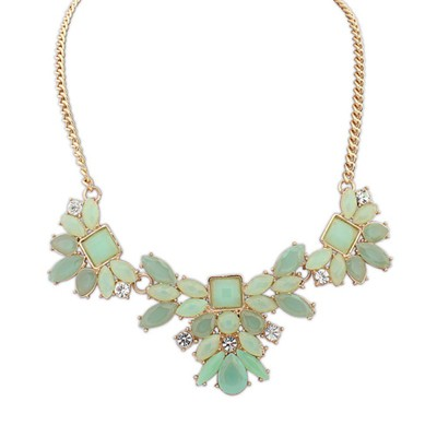 Marathon light green geometrical shape design alloy Bib Necklaces