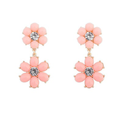 Headrest pink flower simple design alloy Korean Earrings