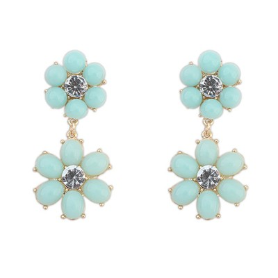 Foldable light blue flower simple design alloy Korean Earrings