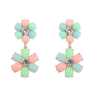 Plain multicolor flower simple design alloy Korean Earrings