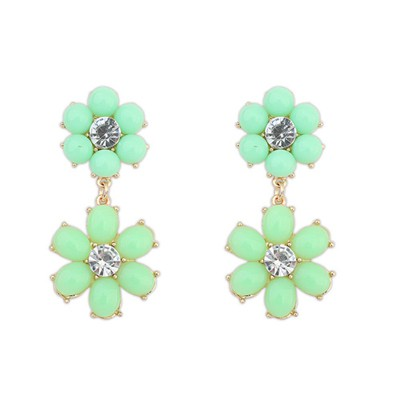 Lovable light green flower simple design alloy Korean Earrings