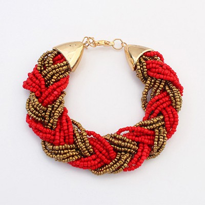 Athena red beads weave simple design alloy Korean Fashion Bracelet