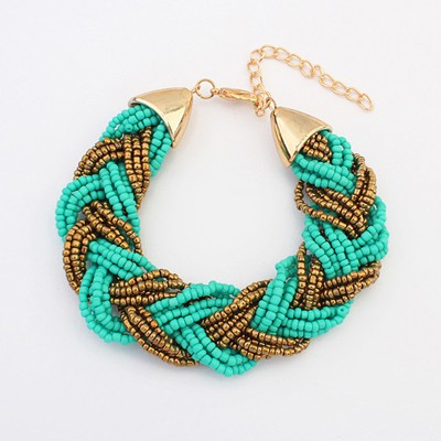Maxi light blue beads weave simple design alloy Korean Fashion Bracelet