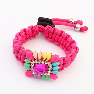 Bespoke plum red gemstone decorated design alloy Korean Fashion Bracelet