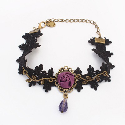 Tall dark purple flower decorated lace design alloy Fashion Anklets