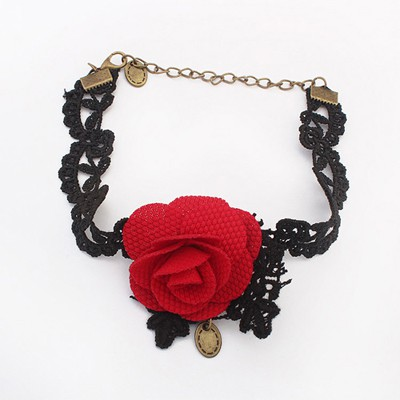 Cocktail red flower decorated lace design alloy Fashion Anklets