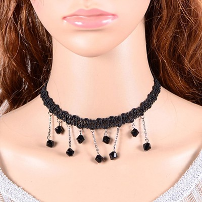 Amethyst black lace simple design alloy Chokers