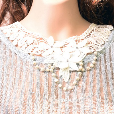 Political white beads decorated flower design alloy Bib Necklaces
