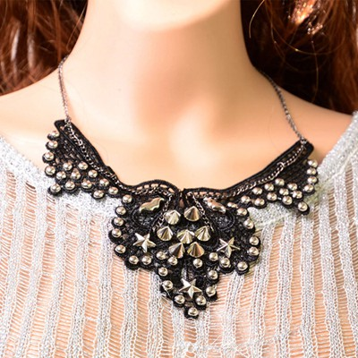 Wool black rivet decorated flower design alloy Bib Necklaces