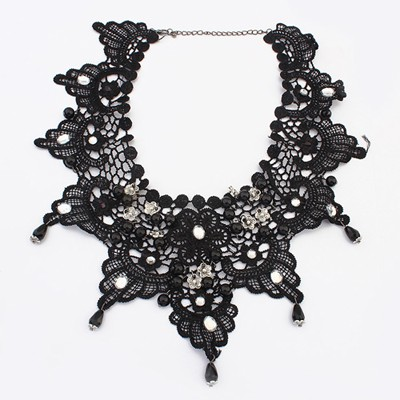 Ruby black flower design alloy Bib Necklaces