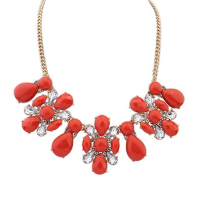 Nameplate red flower shape decorated design alloy Bib Necklaces