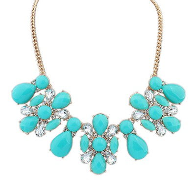 Moving blue flower shape decorated design alloy Bib Necklaces